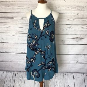 Lucky Brand Embroidered Floral V-Neck Cami Top XL